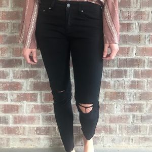 Pants - Astrid Black Ripped Knee Jeans- New!